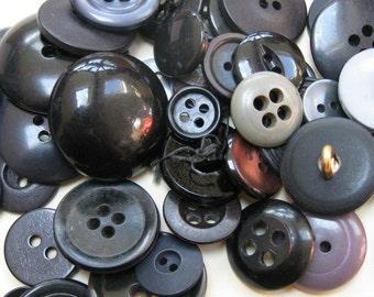 50g Mixed Black Buttons