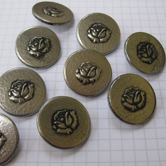 10 silver rose metal shank buttons from overspill on etsy for Buttons with shanks for jewelry