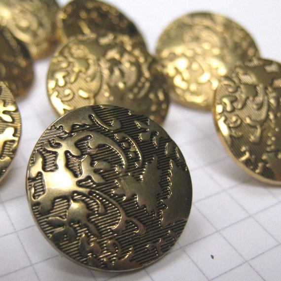 10 Black and Gold Brocade Buttons
