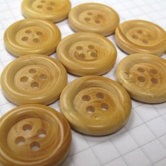 10 Medium Faux Wood Buttons