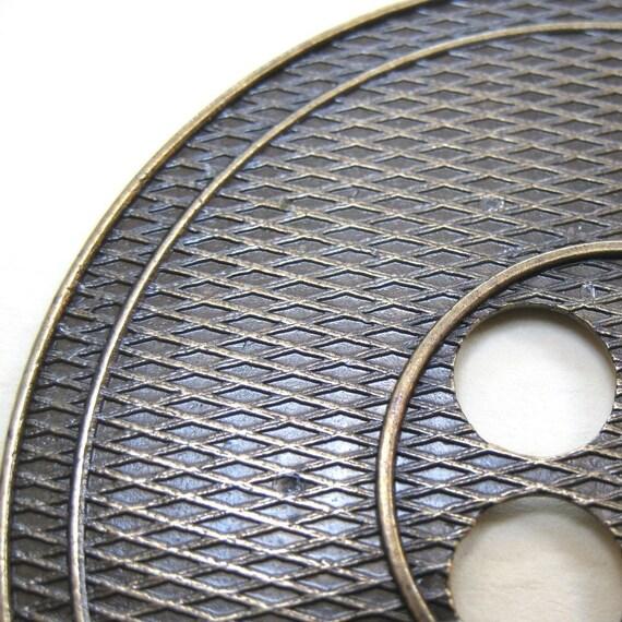 Huge Textured Bronze Metal Button