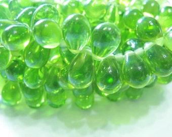 Light  Peridot green  Czech Glass Lg 8x6mm Teardrop  beads 25 GT623