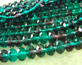 Teal Green and Purple Amethyst Czech glass facete 9x6mm rondelle Beads  7 inch Strand GRL304