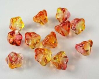 FUSCHIA  LEMON Czech Glass Flower 8x6mm Beads---25 CTF17C