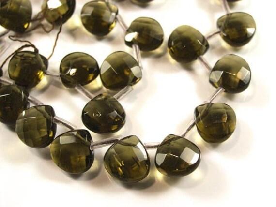 12x12mm SMOKEY QUARTZ GLASS Faceted Teardrop Beads  2