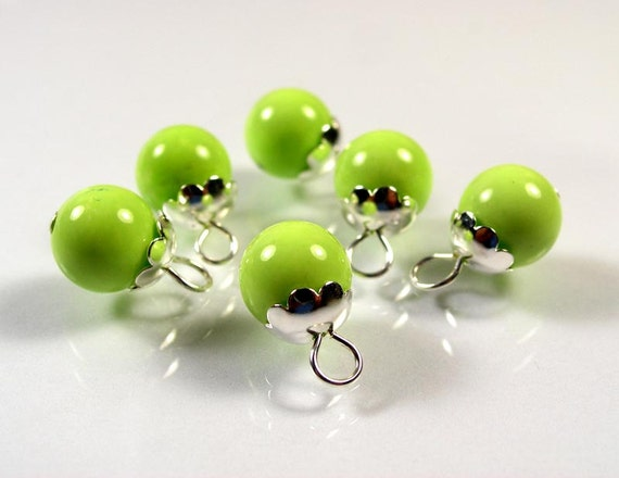 Green Turquoise gemstones with loop ADD A DANGLE 10mm 2 pcs