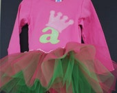 """SALE Initial """"a"""" Pink and Green Applique Tutu Tshirt, Size 4 ONLY"""