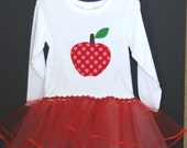 SALE Ribbon Trimmed Back to School Tutu Tshirt Combo, size 4 ONLY