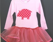 Ribbon Trimmed Pig Dress w/TuTu and Long Sleeves