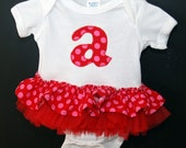 Birthday Initial Ruffle Bodysuit Personalized Pink and Red Polka Dot