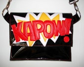 Black Patent City Bag with appliqued Kapow