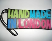 Megaclutch HANDMADE IN LONDON in Silver leather with pastel letters