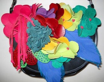 Handmade black Bouquet Saddle Bag with Rainbow flowers