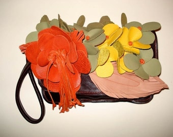 Bouquet Clutch Bag in rich brown with orange, peach, pistachio and yellow flowers