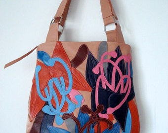 Bucket Bag in Peach leather with Appliqued Lilies