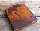 vintage 1920s cigarette case // EN VOYAGE Inlaid Wood Lanscape Scene