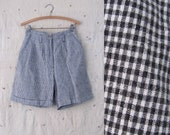 vintage 1980s high waisted shorts // black gingham check linen // s m