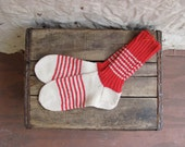 vintage hand knit wool socks // red and white stripe