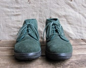 vintage c. 1980s-1990s lace up ankle boots // green suede Keds