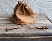 antique c. early 20th century // large leather drawstring purse // marble bag