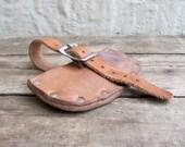 vintage c. 1950s Boy Scouts leather craft hatchet cover sheath // belt bag pouch