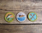 vintage c. 1960s set of three Boy Scouts badges // Water Sports