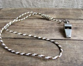 vintage c. 1970s CAMP COUNSELOR metal whistle with gimp lanyard