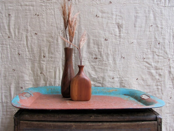 vintage c. 1920s large rustic painted metal tray Toleware // IRON COPPER OXIDE