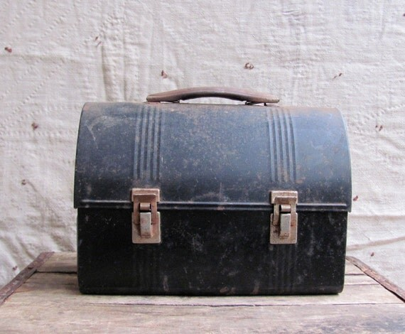 Vintage 1940s Domed Lunch Box Rusty Black Tin