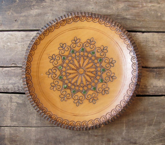 vintage c. 1970s carved wood folk art dish or tray