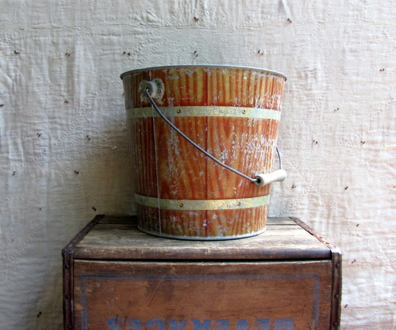 RESERVED for Jamie // vintage 1930s FAUX BOIS galvinized steel bucket // industrial farm house decor