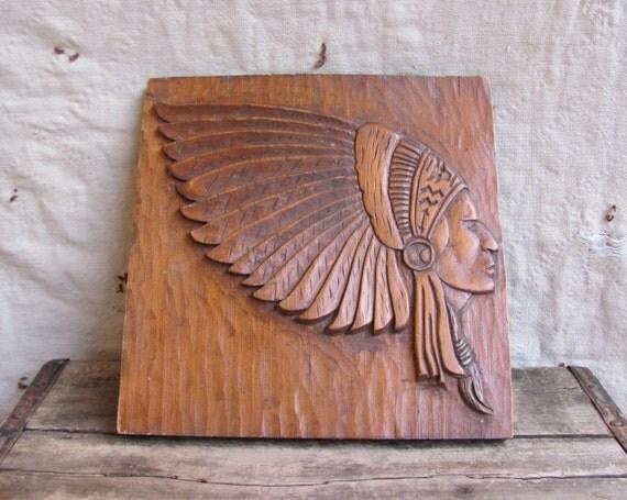 vintage carved wood plaque folk art // CIGAR STORE INDIAN