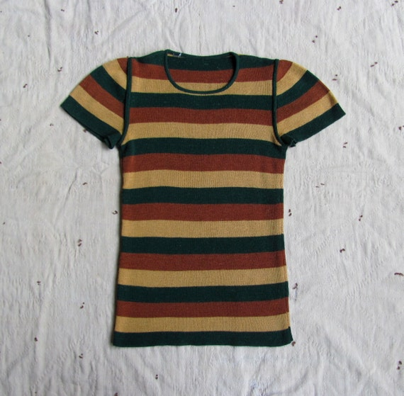 "vintage 1970s striped sweater ""tee"" xs-s"
