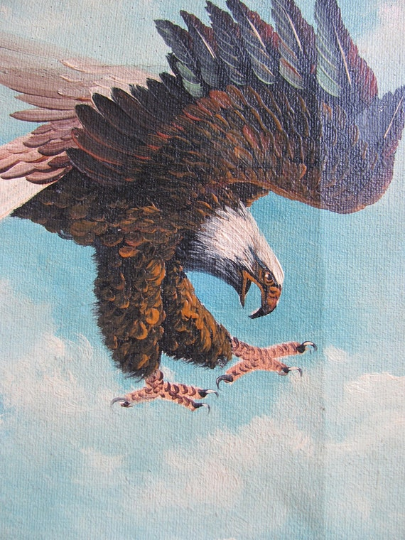vintage 1970s oil painting // bald eagle // signed W. Amadio