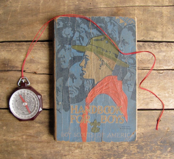 antique c. 1920s-1930s Boy Scout manual // Revised Handbook for Boys 3rd Edition