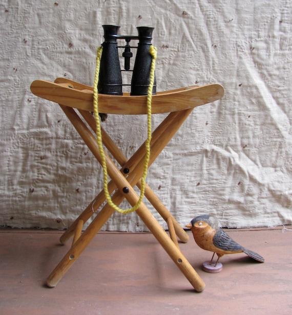 vintage c. 1950s-1970s yellow pine folding camp stool