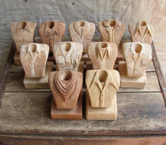 vintage c. 1980s carved wood folk art  // a study in men's fashion