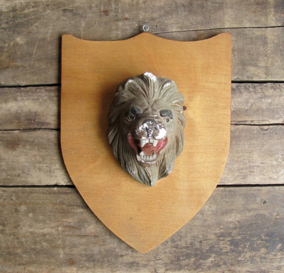 RESERVED for Michele // vintage c. 1950s Lion Cub Scout folk art wall hanging