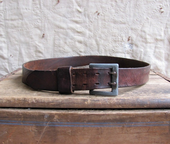 vintage c. 1970s distressed double prong leather belt unisex