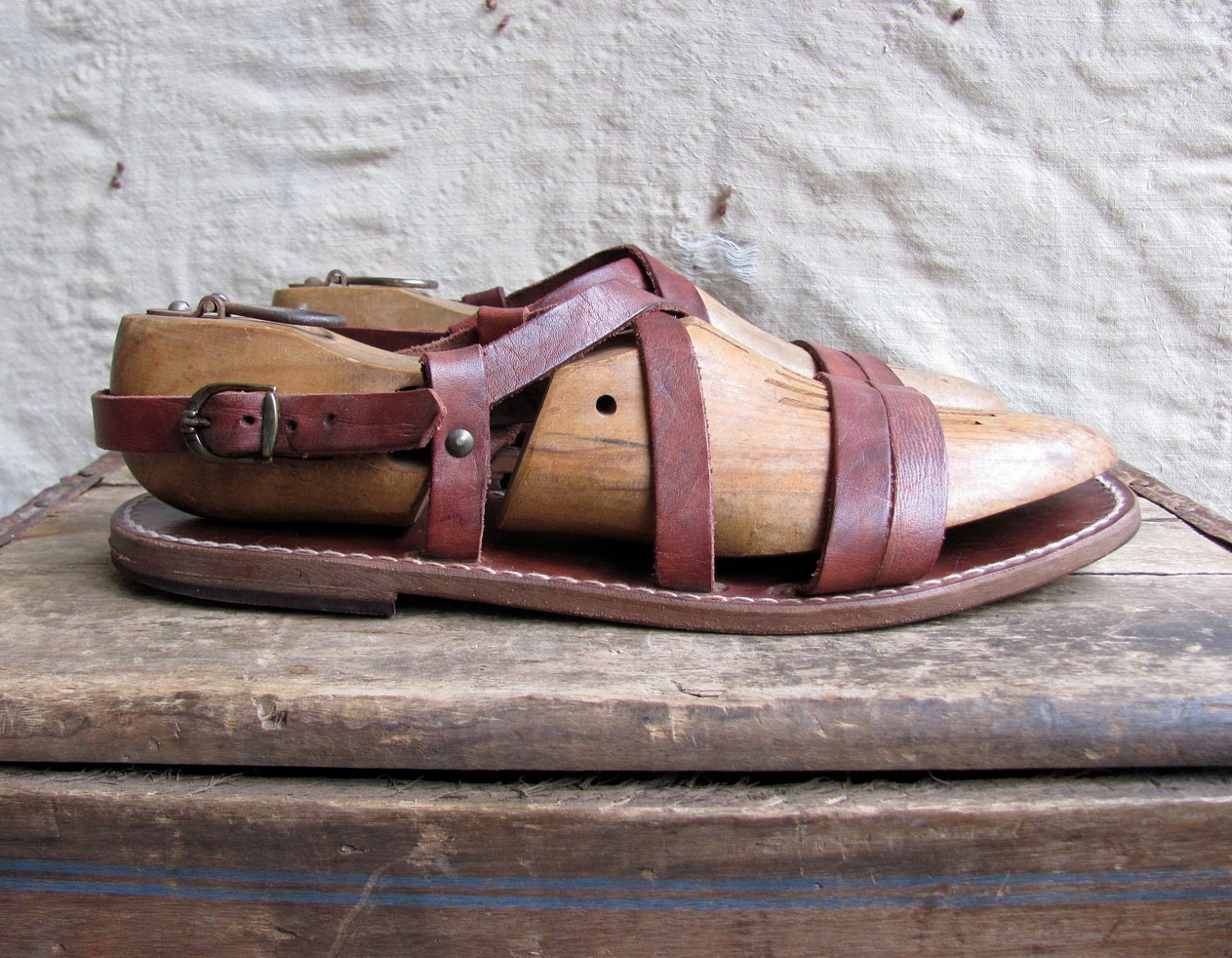 Vintage 1970s Brown Leather Gladiator Sandals Mens 12