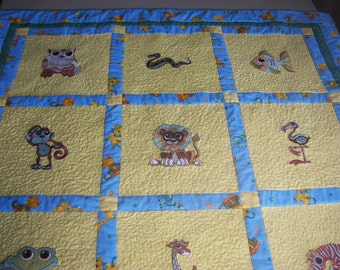 Baby Quilt Baby Animals Patchwork Baby Quilt  -  embroidered animals, densely quilted