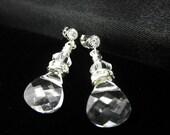 Rhinestone Bride's Earrings - Bridal Earrings- Bridesmaid Sterling Silver Wedding- Swarovski Crystal