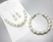 Full Bridal Set- Bracelet Earrings Necklace Grande Crescent of Pearls Set-Bridal-Bridesmaid-Wedding-Traditional-Sterling Silver