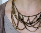 FREE INTERNATIONAL SHIPPING Chandelier necklace - brass chain, gold swarovski, vintage rhinestones (40% OFF, was 42)