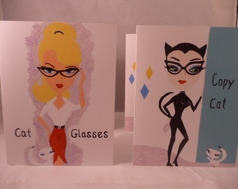 Set of 4 Blank Notecards with Retro Cats from 2 Original Paintings