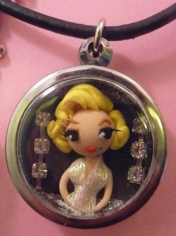 OOAK Polymer Clay Marilyn Monroe Shadowbox Art Necklace White Dress Torso Shot