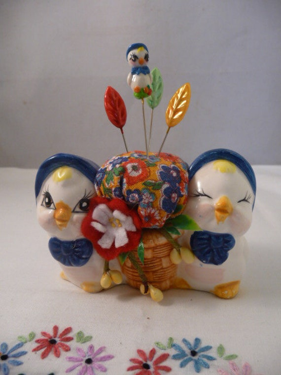 Sweet Vintage Chicks Pin Cushion with OOAK Chick Pin