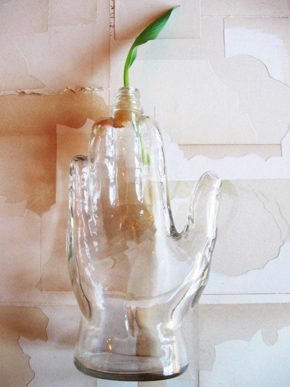 vintage glass hand bottle
