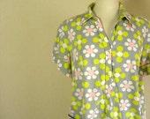 Vintage Mod Floral Cotton Shirt Dress- Size M-L