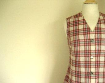 Vintage 2pc Pendleton Plaid Skirt and Vest Set- Size S-M